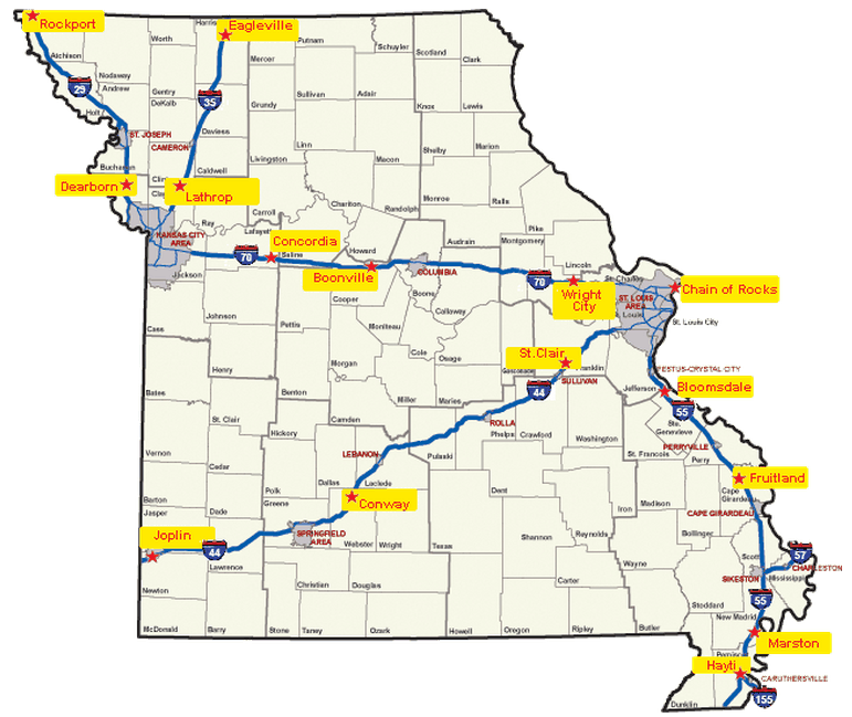 missouri rest area map